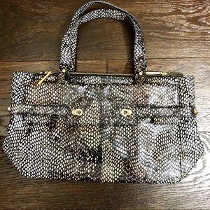 Like New Elaine Turner Python Handbag Tote Satchel